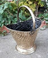 Antique Solid Brass Lizard Pattern Coal Scuttle Log Basket 38 x 27 x 46 cms
