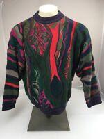 RARE 90s Vtg COOGI Australia NEON-BIGGIE-MCGREGOR sweater M VAPORWAVE Vibrant