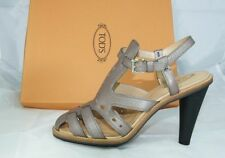 Luxury Tods Tod S Gr 38 Ankle-Strap Sandal High Heels Shoes Metallic New