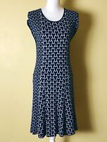 Laundry by Shelli Segal Dress Navy and White Cap Sleeves Rayon Size LP