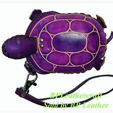 Handmade Leather Coin Purse W/wristlet Strap, Turtle shaped, zip Closure.Purple.