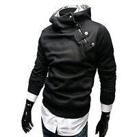 Uomo Maniche Lunghe Slim Felpa con cappuccio Pullover cappotto giacca maglia