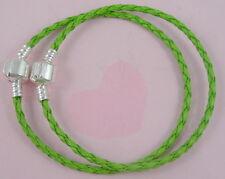 10pcs Green Charm Leather Bracelets Fit European Beads 20cm P11-2