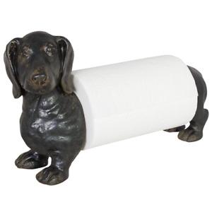 Dachshund Puppy Dog Kitchen Paper Towel Roll Holder Sausage Dog Design, Black
