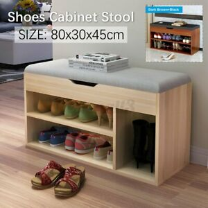 80x30x45cm Multifunctional Wooden Shoe Storage Rack Stool Cabinet Padded Sea A5