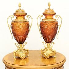 Amber Crystal Italian Vases, Magnificent, Museum Collection hand cut pair.