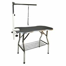 """Heavy Duty Stainless Steel Pet Dog Cat Fold Grooming Table w/ Arm & Tray 38X22"""""""