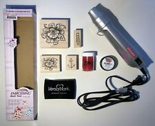 Craft Lot- Marvy Uchida Embossing Heat Tool + Stamps, Ink pad, Embossing Powder