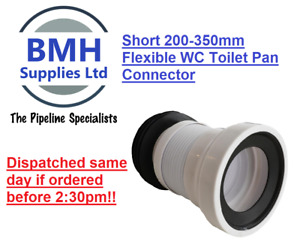 WHITE SOIL PIPE WC TOILET 200-350MM SHORT FLEXIBLE WASTE PAN CONNECTOR.