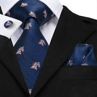 USA Dark Blue Horse Men's Tie Silk Necktie Set New Hanky Cufflinks Wedding