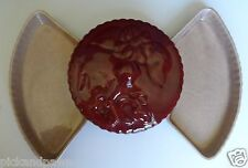 Foreman's of California Art Pottery Covered Dish and Two Trays Burgundy and Gray