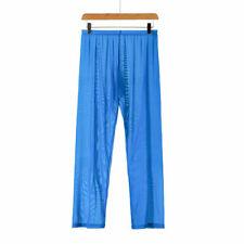 Sexy Mens Comfortable Sheer Mesh Underwear Trousers Long Pajamas Pants Bottoms