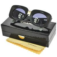RARE! Auth CHANEL CC Logos Sunglasses Eye Wear Black Gray Plastic Italy BA01700f