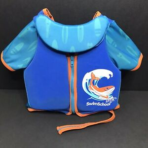 Swim School Training Vest Blue Sleeves Neckline Pad 2-4 Years up to 33 Pounds