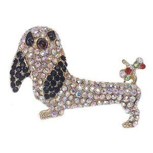 Cute  Sparkling Diamante Dachshund Sausage Dog Brooch Pin