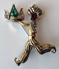 VINTAGE REJA RED AND GREEN RHINESTONE FIGURAL PIN BROOCH