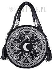 Restyle White Henna Moon Round Bag Embroidery Punk Goth Witch Purse Handbag