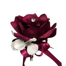 Keepsake Burgundy Rose Pin Corsage Bridal Prom Military Ball Party Rhinestone