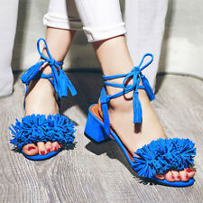 Womens Slingbacks Tassels Lace Up Mid Cuban Heel Summer Sandals Shoes All US Sz