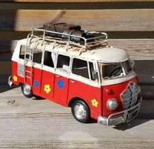 VW Style Camper Van Rustic Shabby Tin Metal Model Ornament RED Luggage 28cm