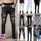 Men's Ripped Skinny Biker Jeans Destroyed Frayed Straight Slim Fit Denim Pants