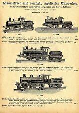 Lokomotiven mit vorzügl.regulierten Uhrwerken.  Historische Reklame von 1909