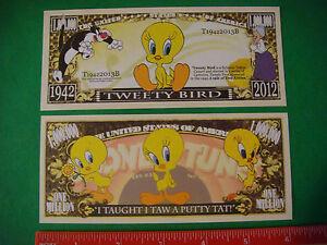 TWEETY BIRD Looney Tunes ~ Putty Tat Cat: USA $1,000,000 One Million Dollar Bill