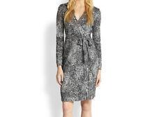 Diane Von Furstenberg $365 NEW JEANNE TWO Silk Wrap Dress Wild Black NWT 10