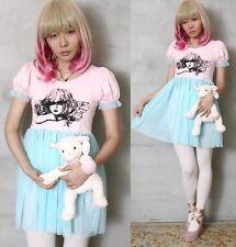 Victorian Angel Kawaii Lolita Gyaru Babydoll Pastel Pink Aqua Sheer Tulle Dress