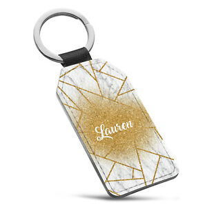 Personalised Marble Name Initial Leather Keyring - 60