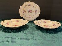 Reichenbach Fine China Floral Handled Bowls Gold Accents GDR Flowers Set of 3