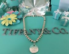 """Tiffany Co. Mini Bead Bracelet I Love You Notes Charm 7"""" Sterling Silver W Pouch"""