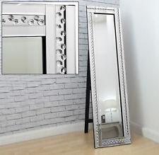 Alma Silver Crystal Glass Frame Full Length Leaner Wall Mirror XL 180cm X 69cm