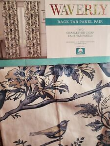 "NEW WAVERLY CHARLESTON CHIRP BLUE TWO BACK TAB PANELS 42"" x 108"""