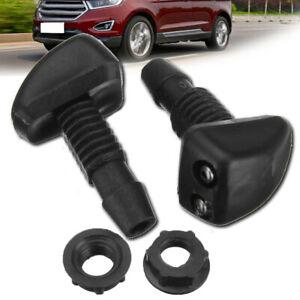 2Pcs Car Windscreen Wiper Sprayer Nozzle Jet Washer Window Spray Water Jet Black