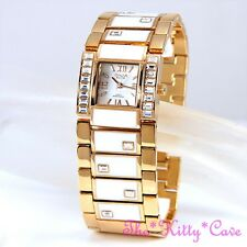 OMAX Rose Gold, Enamel Swiss Brand Ladies Cuff Watch w/ Swarovski Crystals T002