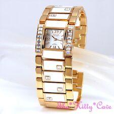 OMAX Oro Rosa, Reloj Suizo Marca señoras brazalete de esmalte con cristales de Swarovski T002