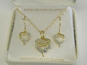 BRONZE WITH FINE SILVER PLATING GOLD TONE SET MOM WITH DIAMOND ACCENT