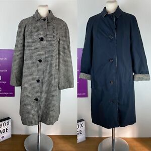 Vintage 70s Amazing Reversible Nylon Navy Check Wool Two Way Coat Mac Size 12