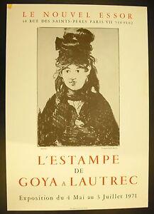 """Affiche exposition l'estampe de Goya à Lautrec 4 mai 1971 à """"Le Nouvel Essor"""""""