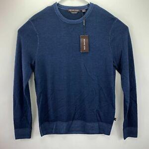 Michael Kors Mens Washed Extra Fine Merino Wool Crewneck Sweater Navy Blue S