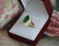 Antique Jewellery Gold Ring Emerald White Sapphires Vintage Jewelry 8 P