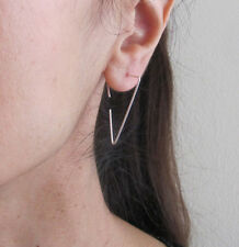 Sterling silver, yellow, rose gold filled wire triangle open hoops earrings