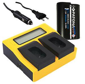 Akku DMW-BLK22 für Panasonic Lumix DC-S5 G9 GH5 GH5S | Dual LCD Ladegerät | SET