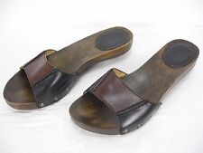 FRYE ELLIE BROWN BLACK LEATHER STUDS OPEN TOE WOOD SIDES SANDALS WOMEN'S 6.5 M