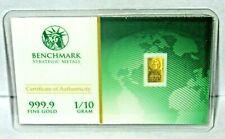 ✪ 1/10 GRAM ✪ 999.9 FINE 24K GOLD BAR! ✪ BENCHMARK STRATEGIC METALS! ✪ >>>>>