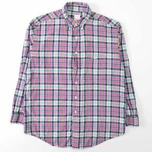 Brooks Brothers Spring Colors Plaid Shirt Cotton Regular Fit Mens Large L