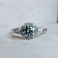 Promise Ring 925 Sterling Silver 7. Halo 1.24 Ct Blue Real Moissanite Engagement