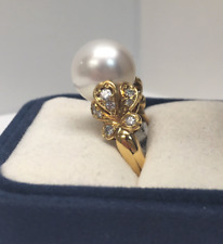 Mikimoto Pearl and Diamond Ring in 18K Yellow Gold