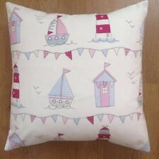 """New Handmad fryetts fabric Pink beach hut lighthouse scatter Cushion Cover 16"""""""